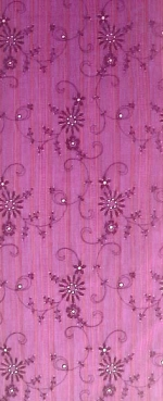 robe tissu mauve rayé brodé marron HAL1797